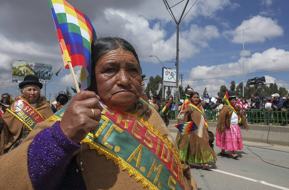 The leader of the elderly people organization of El Alto attends the 29th anniversary celebrations of the foundation of El Alto city